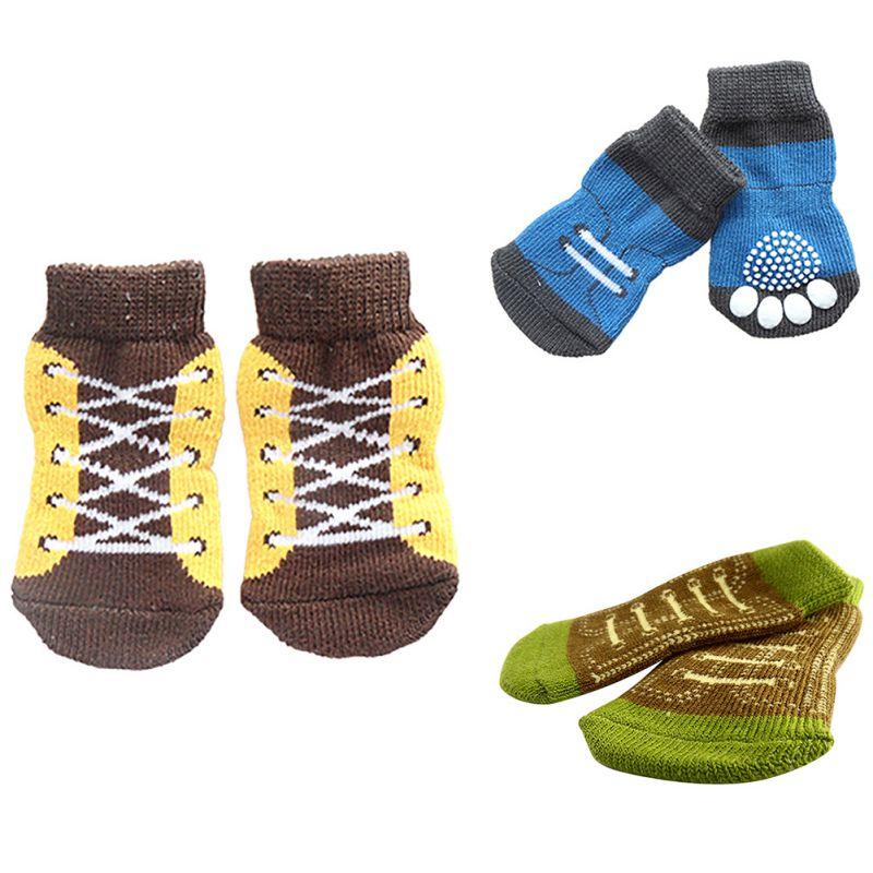 Anti-slip Cotton Knit Socks Skid Bottom 4Pcs Pet Small Dog Puppy Warm Soft Socks Hot Sale