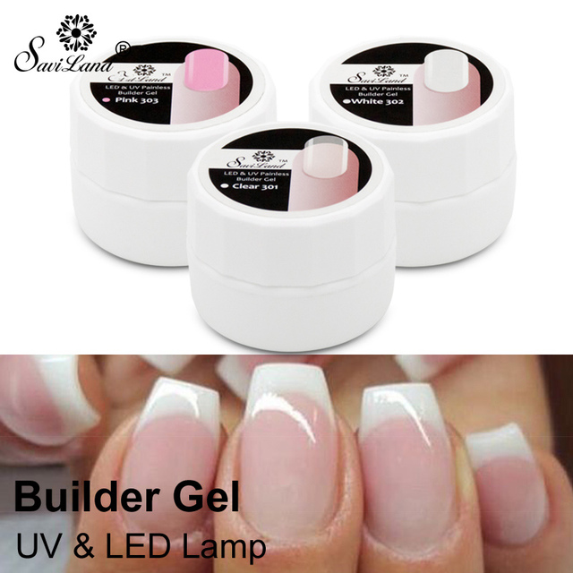 Saviland 1pcs Professional Pink White Clear Nail Gel Polish Semi Permanent UV LED Builder Varnish