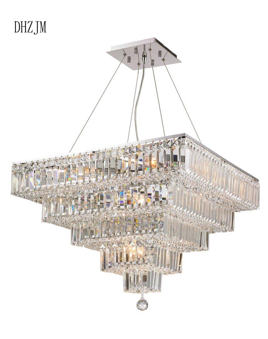 Modular 5 tier crystal chandelier 66cm square chrome fixtures chandelier lighting fixtures led home lighting