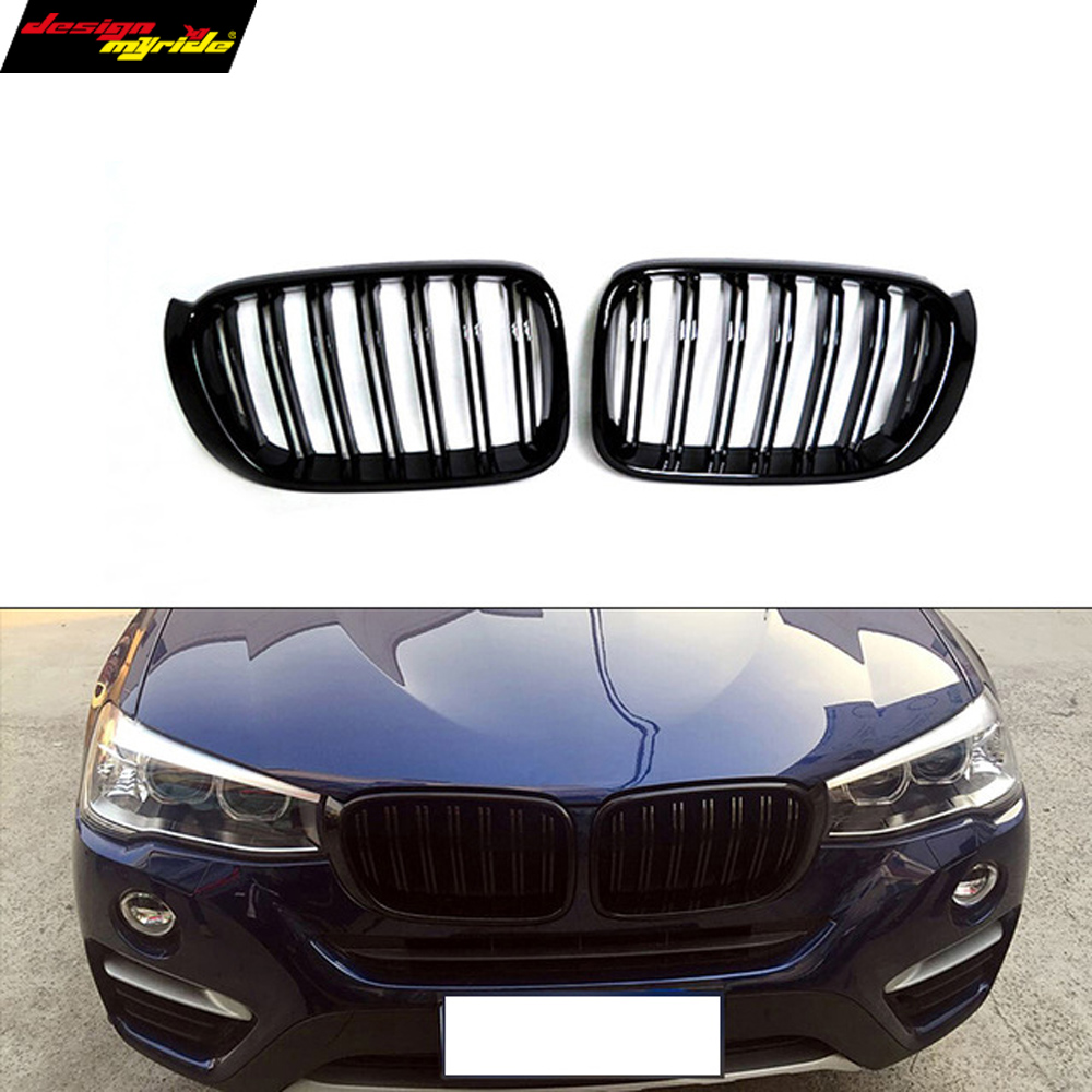 Injection mold ABS grille X3 X4 dual front kidney grill for BMW F25 LCI & F26 easy installation great performance 2014 in