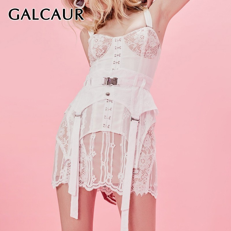 GALCAUR Lace Patchwork Short Sexy Dress For Women Sleeveless High Waist Slim Mini Dresses Female Fashion