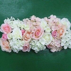 Image 1 - Flor de seda artificial 2 pces 50cm estrada do casamento chumbo hortênsia peônia rosa flor casamento arco quadrado pavilion cantos decoração flores