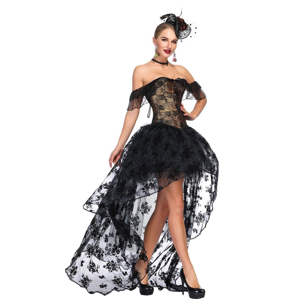 Femme Rétro Steampunk Robe Corset Victorien Gothique Vintage top Corset Burlesque Dentelle Corset et Bustier Robe De Soirée