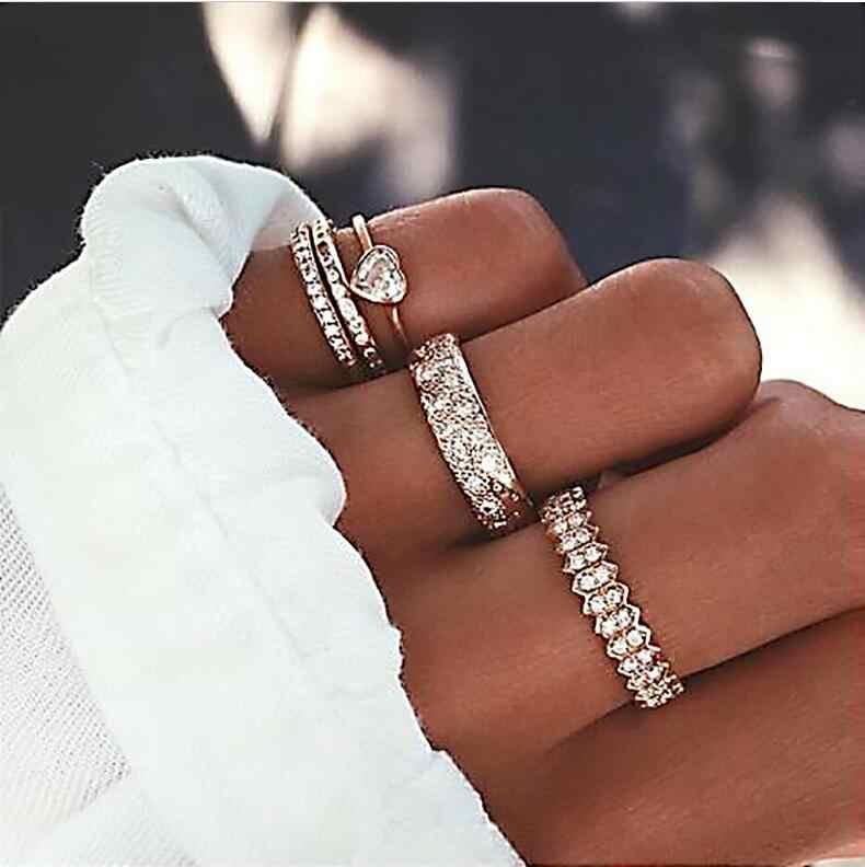 3-12 Pcs/set Fashion Vintage Cincin Set Femme Batu Perak Emas Midi Jari Cincin BoHo Wanita Perhiasan Wanita set Perhiasan Hadiah
