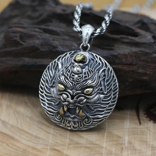 NEW 100% 925 Silver Power Pixiu Pendant Vintage Sterling Man Pendant Good Luck Powerful Pendant 100% 925 silver skull hand pendant vintage sterling rock necklace pendant hiphop man pendant