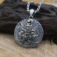 NEW 100% 925 Silver Power Pixiu Pendant Vintage Sterling Man Pendant Good Luck Powerful Pendant