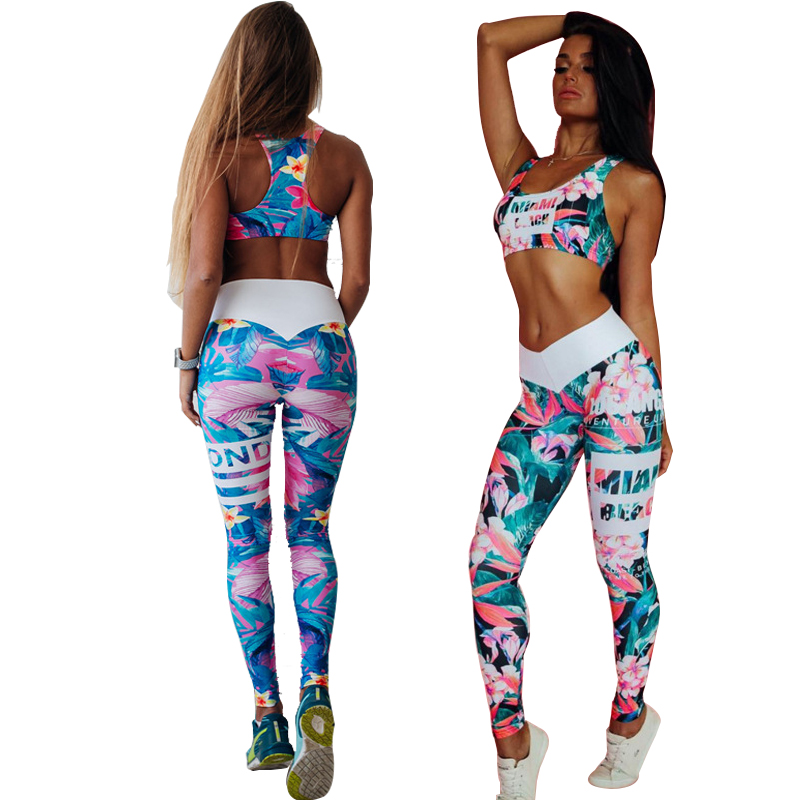Floral Printed 2018 Women Yoga Set Splice Running Set Bra+Leggings Sports Suit Vintage Sports Clothing Gym Tracksuit Sportswear