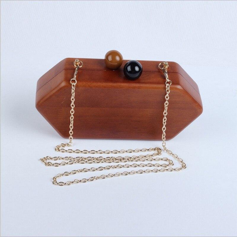 Wooden metal women handbags small purse day clutches evening bags chain evening bag for wedding/dinner