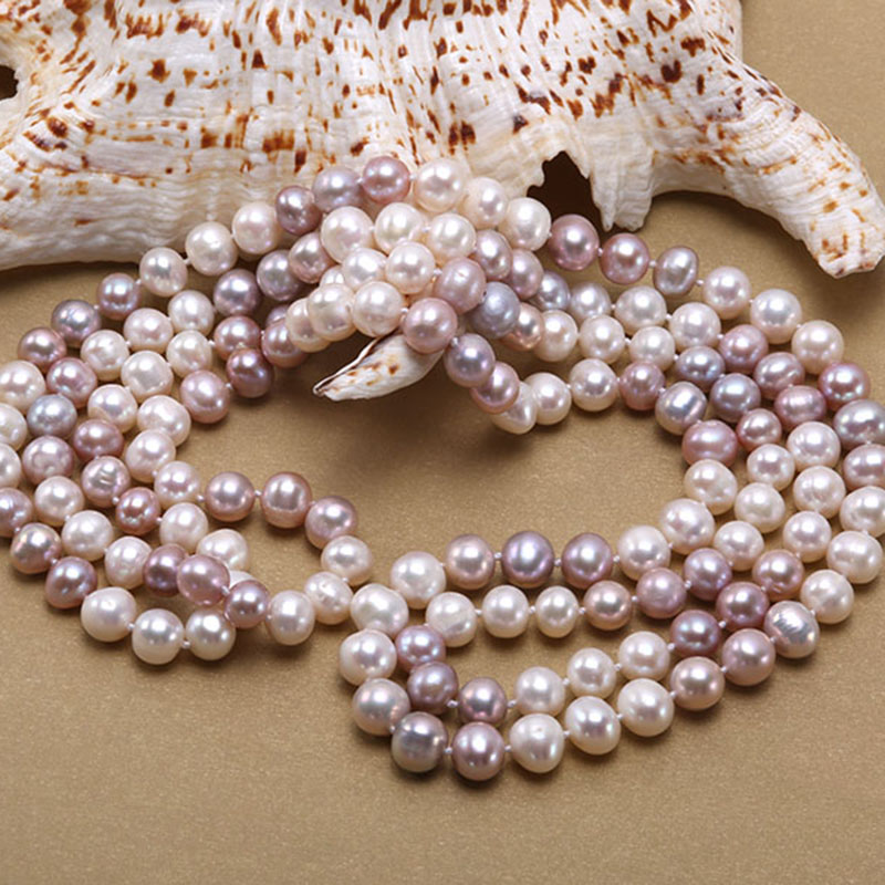JYX Pearl Long Necklace women Classical natural 8 9mm Multi Color Baroque Freshwater Pearl Sweater Necklace 47 quot 328sale in Necklaces from Jewelry amp Accessories