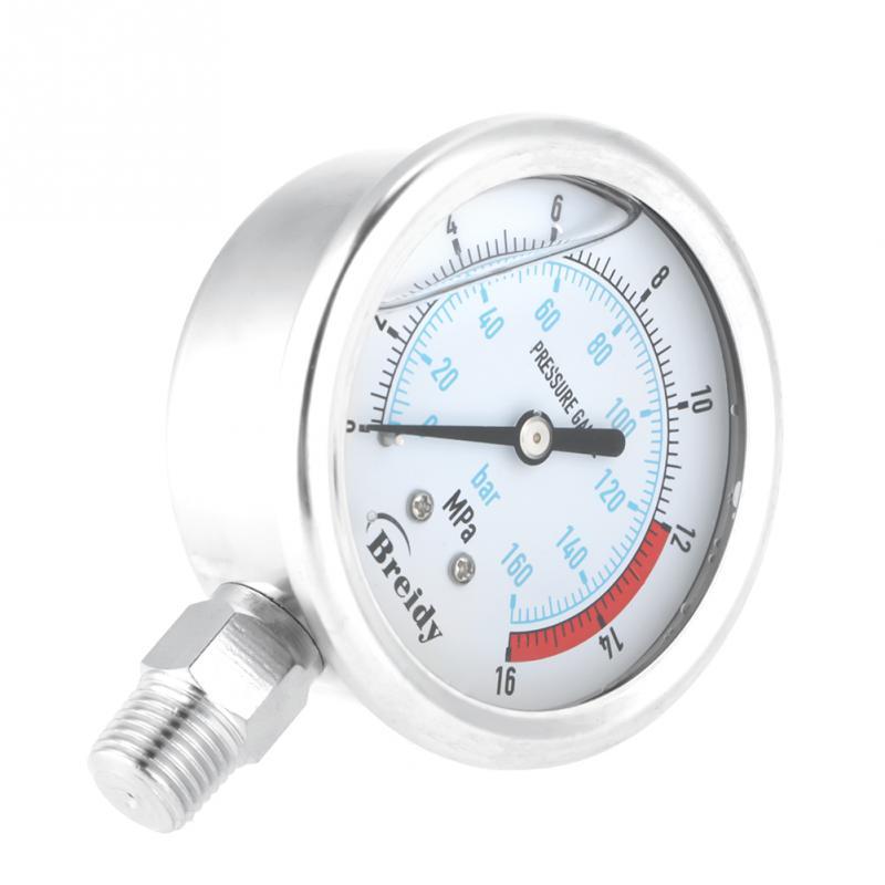 1pcs Hydraulic Pressure Gauge Pressure Gauge 14 NPT 60mm Dial Air Hydraulic Water Pressure Gauge Meter Pressure Measuring Tool