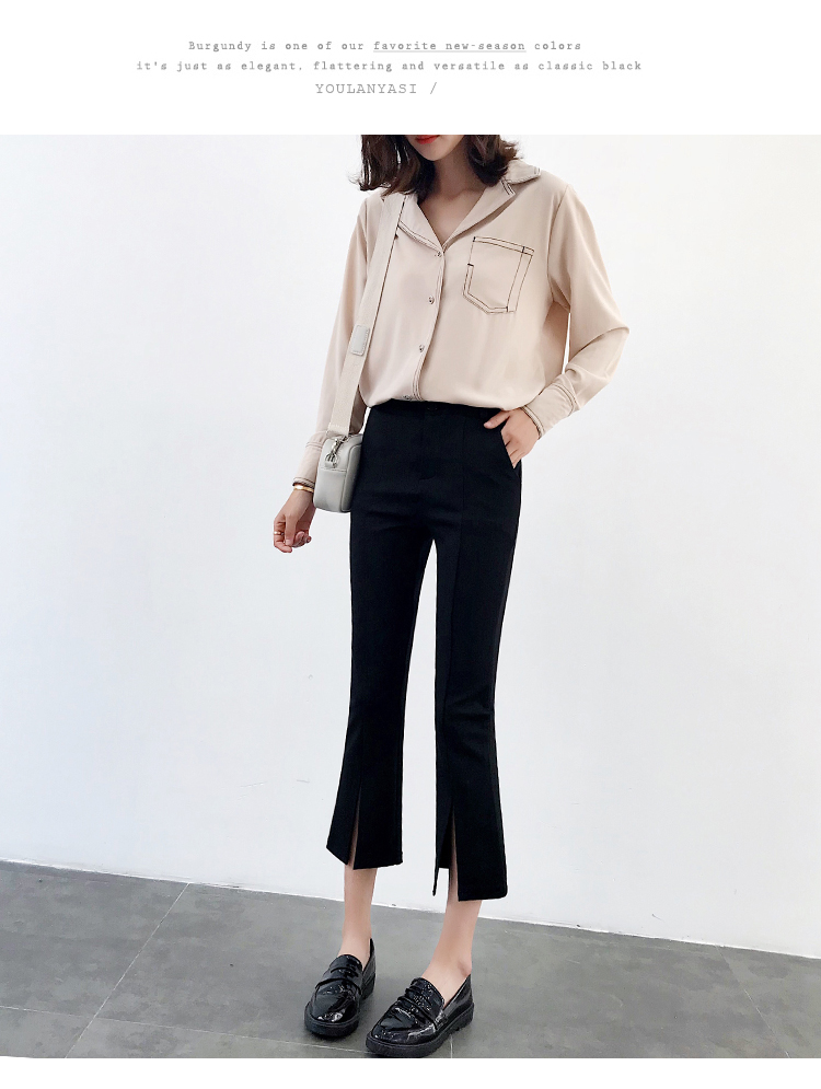 High-waisted Flare Pants Women 2018 Summer New Hot Fashion Female Casual Loose Ankle-length Pants Trousers Bottoms 9