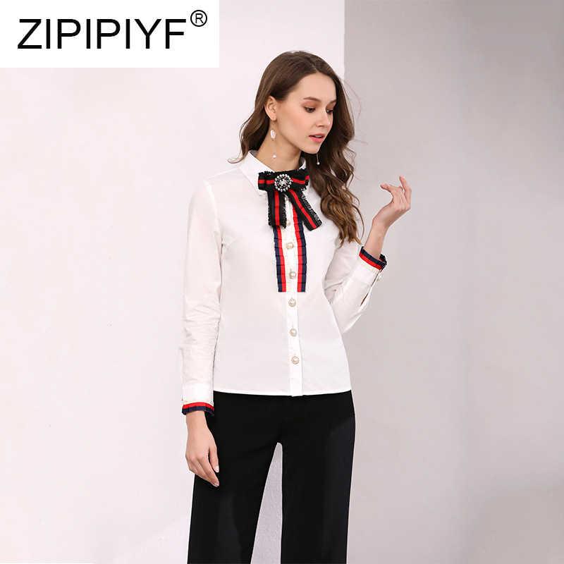 Благородная модная цветная блуза с длинным рукавом бантом однобортная отложным