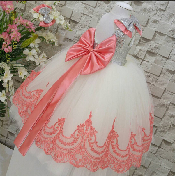 2017 summer Watermelon Red and white Flower Girl Birthday Dress backless sequins lace bow sashes Toddlers Girls dress