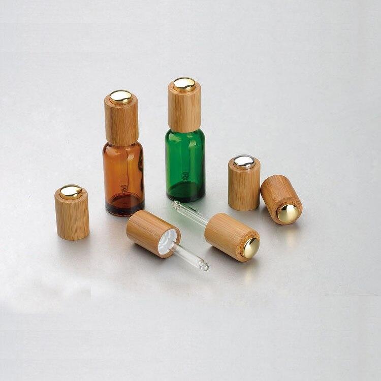 5/10/15/20/30/50/100 ml Vuoto Ambra/Verde/Blu Olio Essenziale di vetro Contagocce Bottiglie di Bambù Premere Tappo Pompa Pipetta di Vetro All'ingrosso