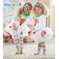 2016 Children Baby Girl Christmas Autumn Set Bow 2PCS Clothes Set Suit Top Sweater Pants Baby Girl Clothes White Set