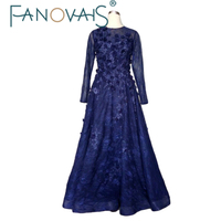 Real Photos Custom Made Zipper Baack Long Sleeves Lace Evening Dresses 2016 With Pearls Handmade Flowers