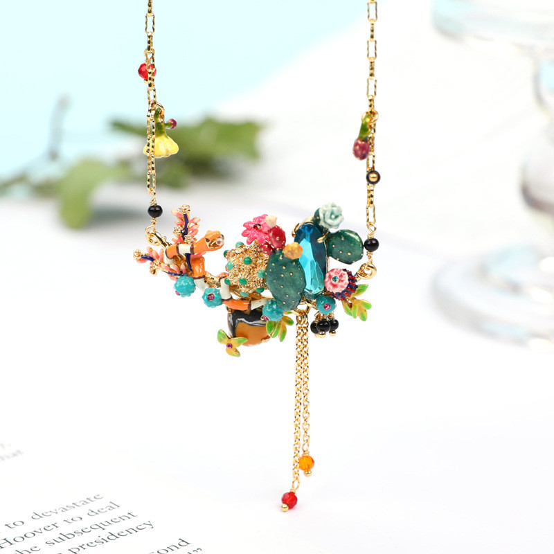 цена Warmhome Trendy Jewelry Enamel Glaze Copper Classic Cactus Flowers Plants Coral Snake Tassel Necklace For Women