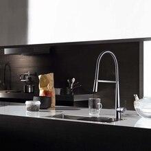 Латунь бортике одной ручкой горячей и холодной воды кухонный смеситель кран, Хром