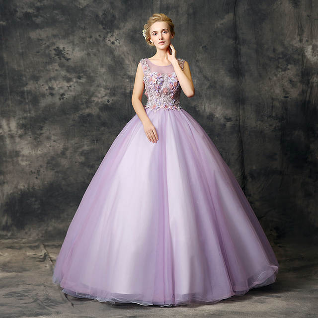 fd34b54f993ef Walk Beside You Lilac Quinceanera Dresses vestidos de 15 anos Lace Applique  Floral Ball Gown Sleeveless Debutante Sweet 16 Dress
