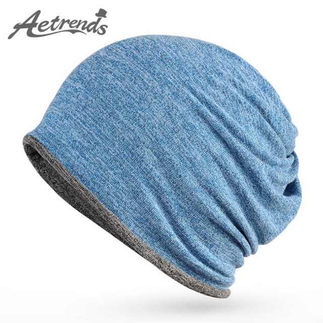 [AETRENDS] 2017 New Beanies Hip-Hop Collar Scarf Hats for Men Women Skullies Baggy Cap Z-5084