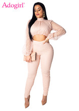 Adogirl Polka Dots Sheer Mesh Fashion Two Piece Set Mock Neck Long Lantern Sleeve Crop Top + Pencil Pants Casual Suit Clubwear mock neck lettuce hem glitter mesh top