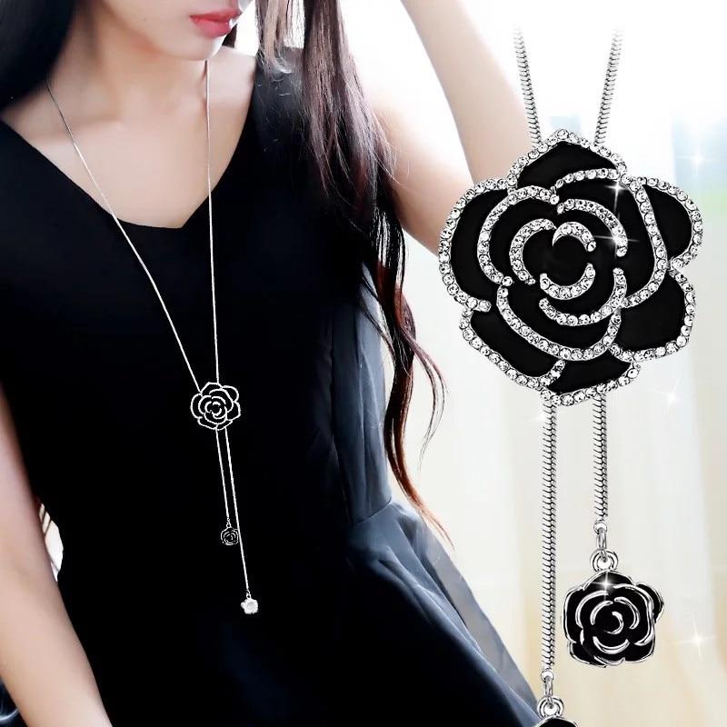 BYSPT Snefnug Lang Halskæde Mode Krystalblomst Swan Tulip Vedhæng - Mode smykker - Foto 5