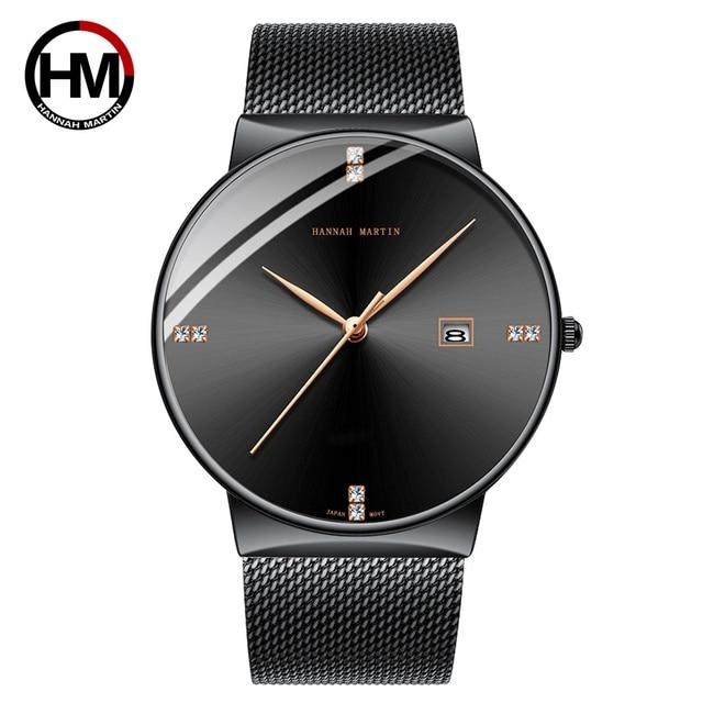 2019 Negro Para Hombre Reloj Superior De La Marca Lujo Acero Inoxidable Pulsera Diamantes Oro Relojes Hombres