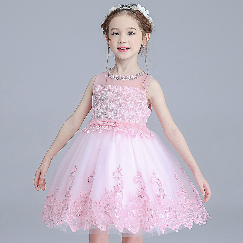 2017 New Flower Toddler Girls Party Dress Print Bridesmaid Wedding Princess Girl Christmas Ball Gown Kids Formal Vestido GDR259 kids girls bridesmaid wedding toddler baby girl princess dress sleeveless sequin flower prom party ball gown formal party xd24 c