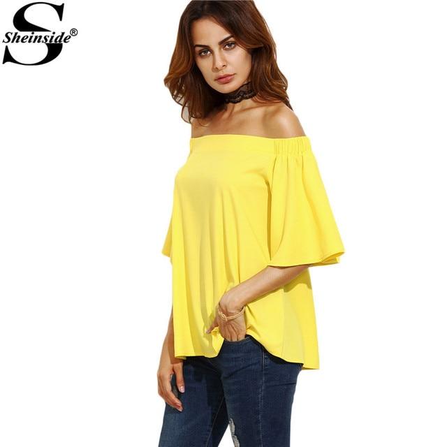 Sheinside Amarelo Camisas Casual Tops Fora Do Ombro Top Mulheres Blusas 2016 Outono Meia Manga Sexy Queda Blusa Solta