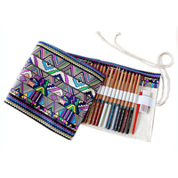36/48/72 Holes Handmade Creative Ethnic Style Pencil Case Canvas Pen Roll Up Bag Pencil Bag Capacity Student Stationery Bag