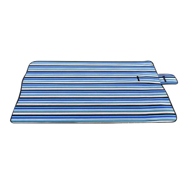 Extra Large Picnic Blanket Rug Mat Waterproof Travel Camping Beach Kids Baby Blue Stripe