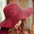 2017 Весна Лето Вс Шляпы Широкими Полями Шерсть Элегантные Старинные горячие Продажа Женщины Дамы Бантом Украшения Leopard Пляж Шляпа Шапки S1794