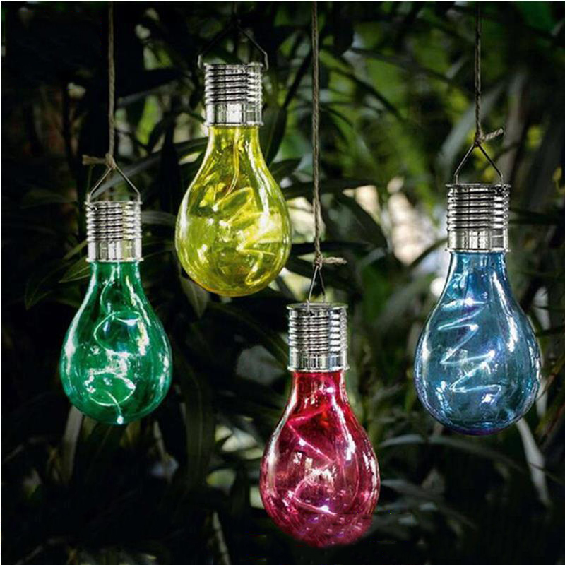 Fashion Creative Colorful LED Solar Lamp  Garden Camping Hanging Light Beautiful Outdoor Decoration Waterproof LED Bulb