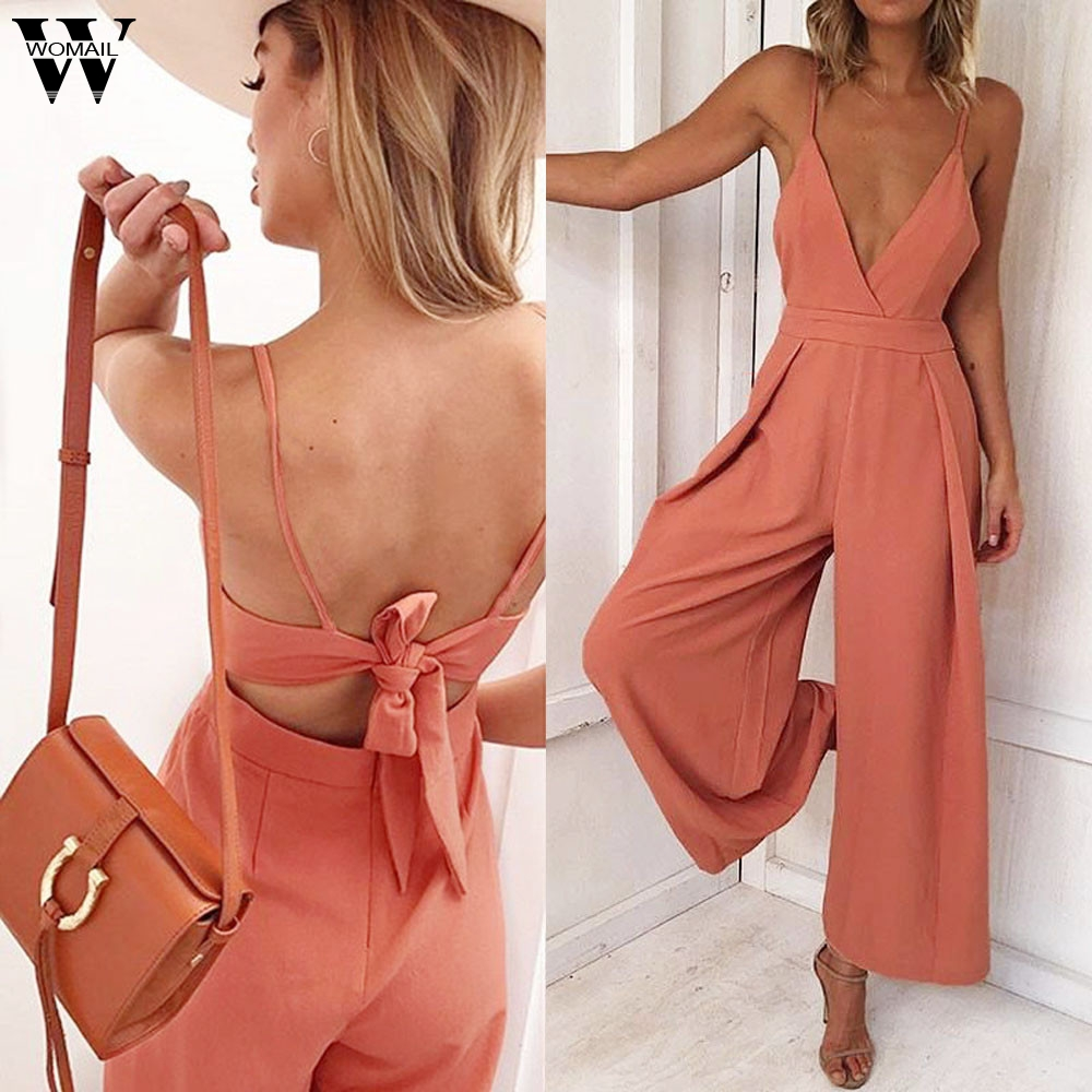 Womail bodysuit Women Summer Fashion Causal V Neck Back Bow Jumpsuit Clubwear Bodycon Playsuit   Romper   2019 dropship M5