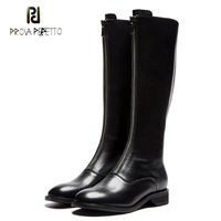 Prova Perfetto black genuine leather long zippers design knee high boots females round toe low heel cool motorcycle boots women