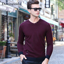 New Fashion Men's Sweater 100% Wool V-Neck Collar Long Sleeves Solid Color Spring Winter Smart Casual Clothing For Male MSW058