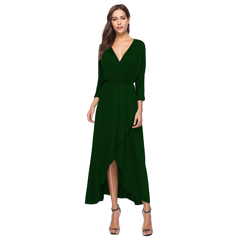 LEQEMAO brand 2018 women dresses Sexy v-neck bat-sleeve frock dress solid loose large size full sleeve women summer dress