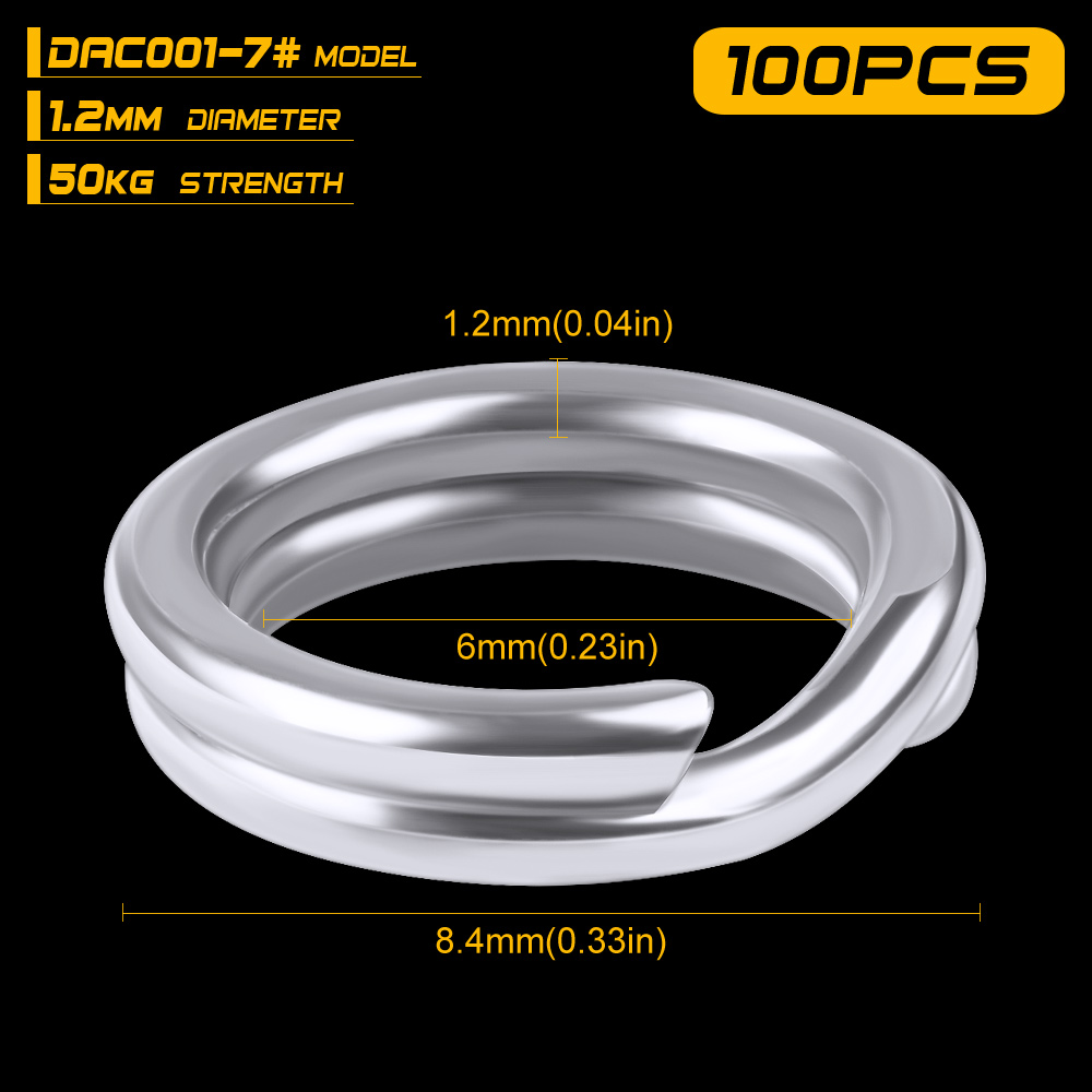 100pcs Fishing Split Rings for Crank Hard Bait Silver Stainless Steel 3#-8# Double Loop Split Open Carp Tool Fishing Accessories 16