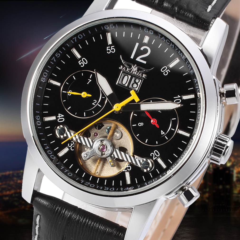 Jargar Automatic Men Tourbillon Silver Watch with Black Leather цена и фото