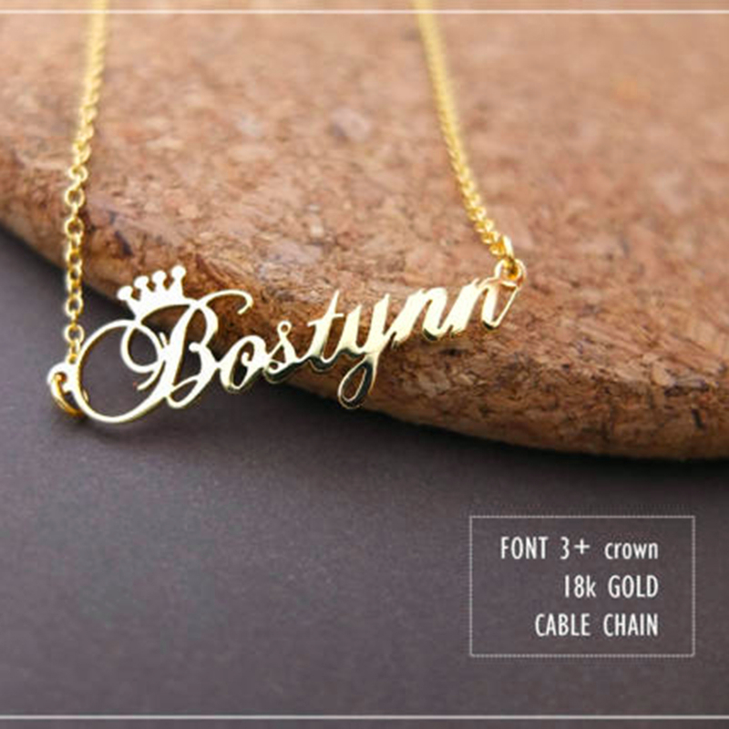 Custom Crown Name Necklace Personalized Jewelry Silver Rose Gold Stainless Steel Nameplate Choker Necklace Women Bridesmaid Gift atoztide customized fashion stainless steel name necklace personalized letter gold choker necklace pendant nameplate gift