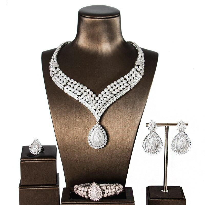 Style Simple en alliage de cuivre 5a zircon cubique ensemble boucles d'oreilles collier Bracelet anneau