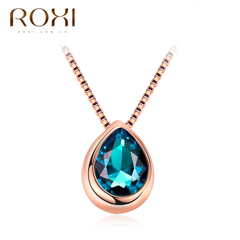 ROXI Necklaces for Women Rose Gold Color Water Drop Shape Pendant Blue Top Quality Glass Stone Chain pingente Female choker