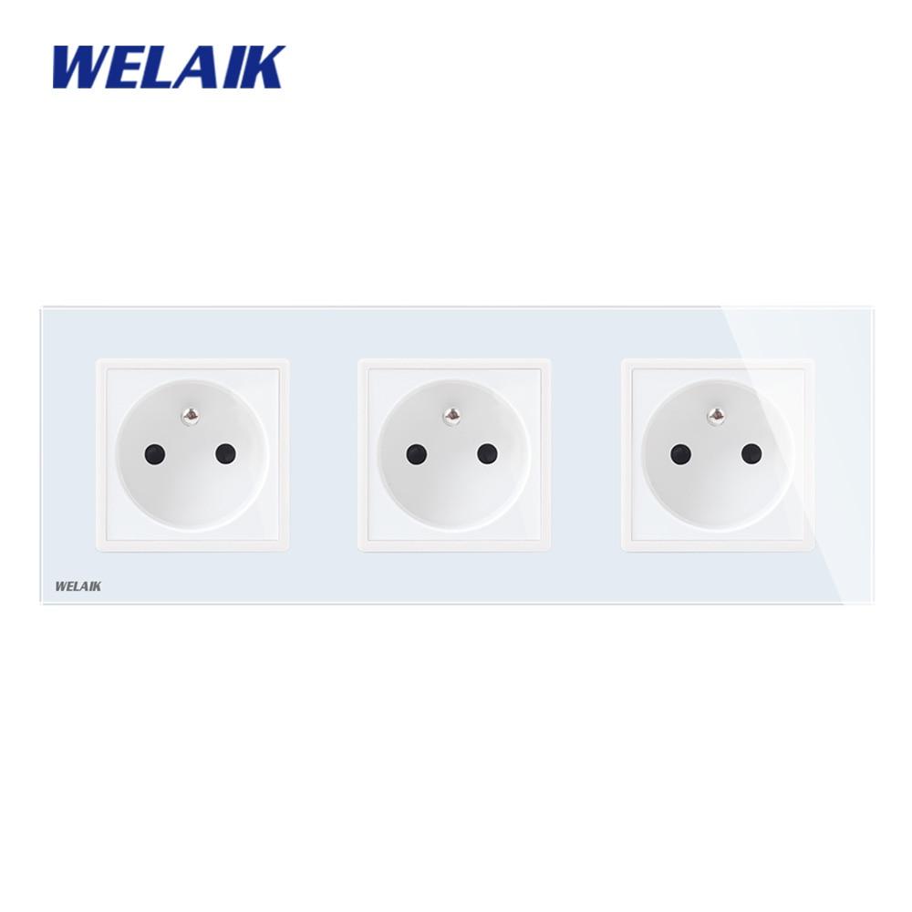 WELAIK  France-Standard Tempering-Glass-Panel Wall-Socket Wall-Outlet  France-Power-Socket AC110~250V 16A A38F8F8FW/B