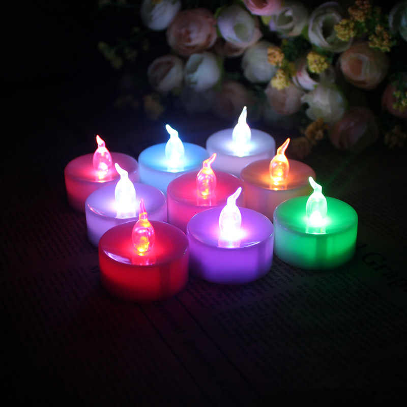 12 pieces RGB color changing battery tealight candles,warm white led candle,flameless bougie led, Candle lamp for party dec