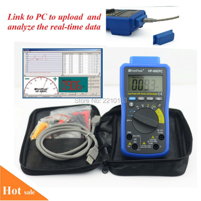 HoldPeak DC/AC Auto Range Digital Multimeter Meter with USB/ Software CD and Data Output Fuanction 90EPC mini multimeter holdpeak hp 36c ad dc manual range digital multimeter meter portable digital multimeter page 2