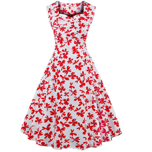 dba16bf498 Online Shop Sexy Retro 1950S 60s Sexy Dresses Women Summer Rockabilly Dress  Plus Size Sleeveless Cotton Vintage Tea S- 4XL Plus Size Dresses