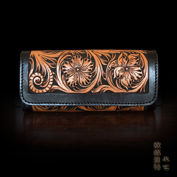 OLG.YAT handmade women wallets long hasp handbag Italian Vegetable tanned leather wallet womes Arabesque Flowers bags retro pure olg yat handmade women wallet flowers handbag vegetable tanned leather wallets long zipper bags women purse pure cowhide retro