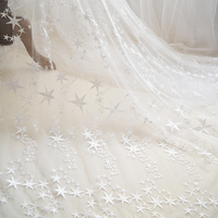 2 Color Stars Embroidered Lace Fabric High Grade Wedding Dress Clothes DIY Cloth Ivory White RS1153