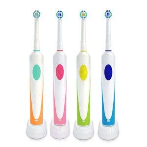 Image 1 - Cepillo de dientes eléctrico giratorio de carga por inducción con 2 cabezales de cepillo productos de higiene bucal limpiador de cepillos de dientes recargable