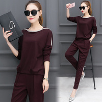 Korean Fashion Suits 2017 Spring New Women Long Sleeved Top Pants Two Piece Clothing Set Slim Knitted Suit Casual Size S XXL